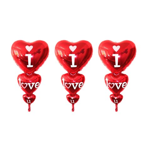 Wedding Party Decoration Anagram I Love You Flat Balloon Red 3 PCS - Iparty Stores