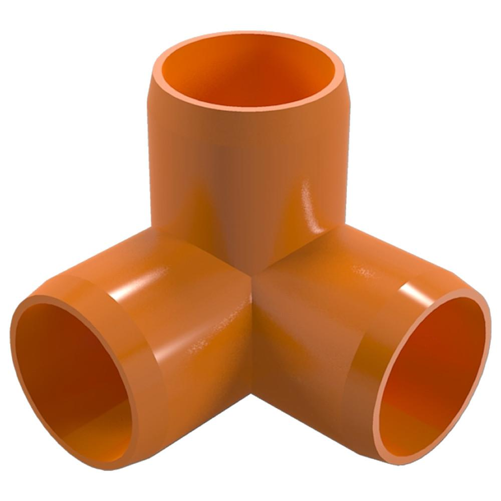 "3-Way Elbow PVC Fitting, Furniture Grade, 1"" Size, White (Pack of 4)"