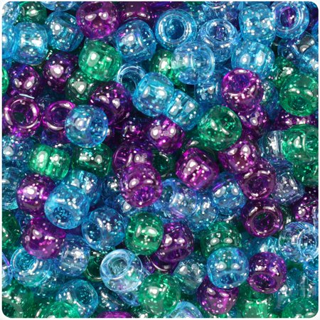 BeadTin Cool Mix Sparkle 9mm Barrel Pony Beads (Glass Pony Beads)