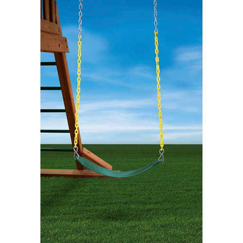 Gorilla Playsets Swing, Green Belt and Yellow Chain