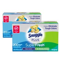 Snuggle Plus SuperFresh Fabric Softener Dryer Sheets, Original, 200 Count, 2 Boxes, 400 Total Sheets