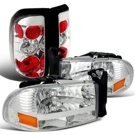 Spec-D Tuning For 1997-2004 Dodge Dakota Chrome Crystal Headlights + Tail Brake Lamps (Left+Right) ()