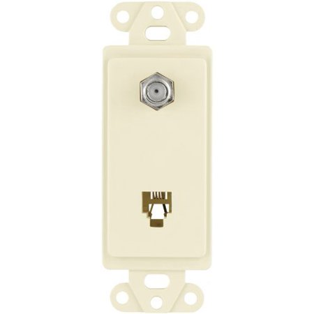 Cooper 3562LA Light Almond Combination Coax Jack and Four Wire Telephone Jack Decorator Wall Plate Insert