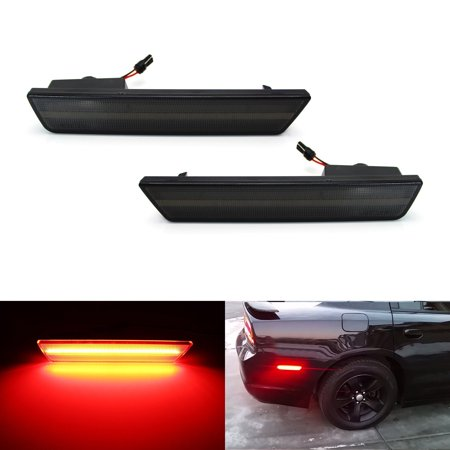 Rear Side Marker Lamp - iJDMTOY (2) Smoked Lens Rear Side Marker Lamps with 36-SMD Red LED Lights For 2008-2014 Dodge Challenger, 2011-2014 Dodge Charger