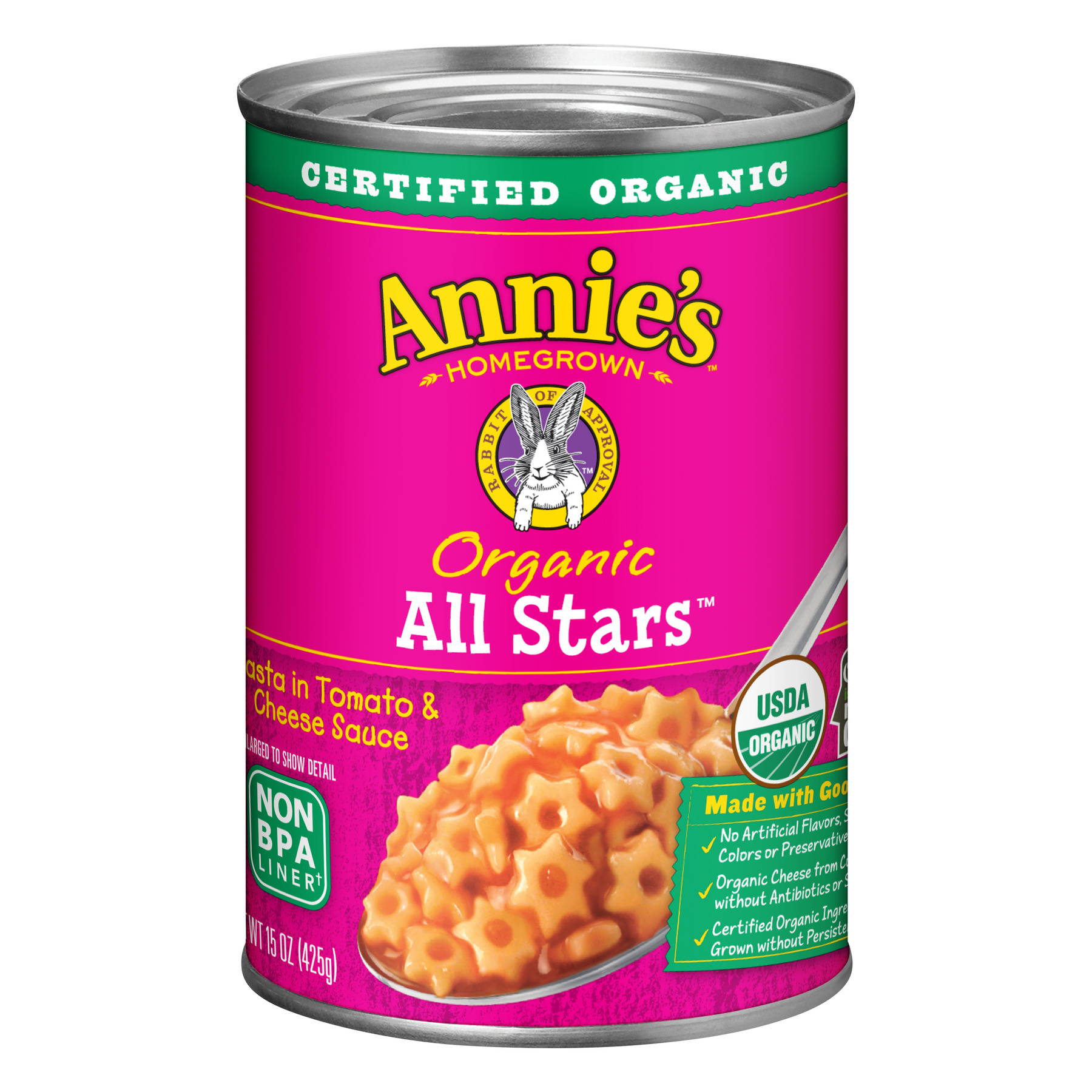 Annie's Organic Pasta All Stars Pasta in Tomato & Cheese Sauce 15 oz