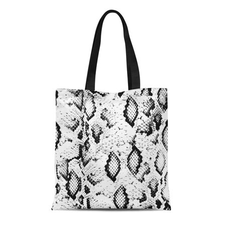 LADDKE Canvas Tote Bag Pattern Snake Skin Black on White Snakeskin Abstract Reusable Shoulder Grocery Shopping Bags Handbag