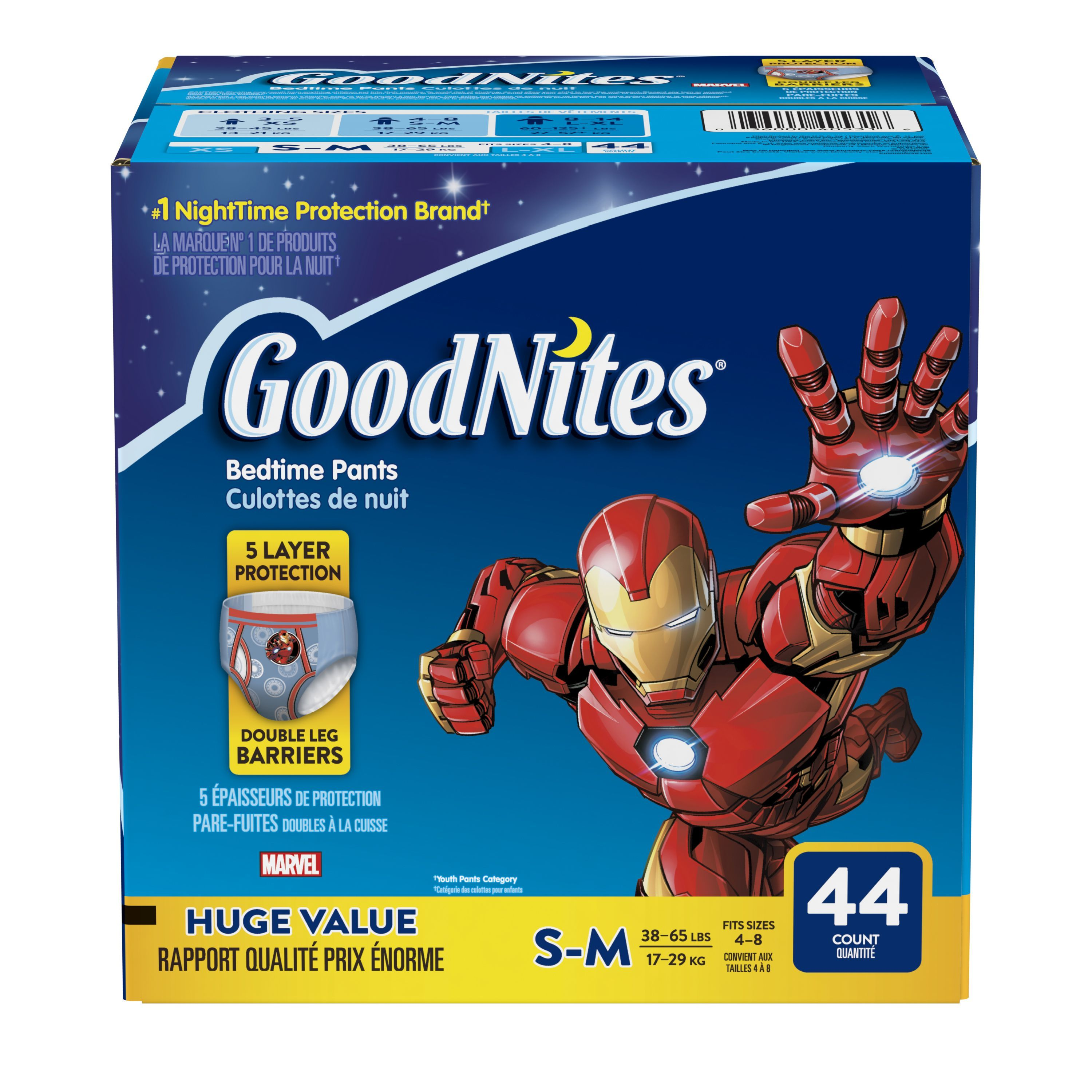 GoodNites Bedtime Bedwetting Underwear for Boys, Size S/M, 33 count