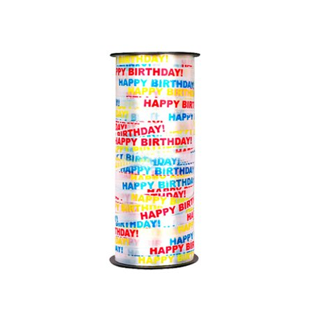 100 Yard Happy Birthday Crimped Curling Ribbon Roll Silver Balloon Ribbons for Parties Festival Florist Crafts and Gift Wrapping