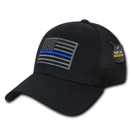 05da18fc5dd11 Police Thin Blue Line TBL Embroidered Patch Air Mesh Flex Caps Hats -  Walmart.com