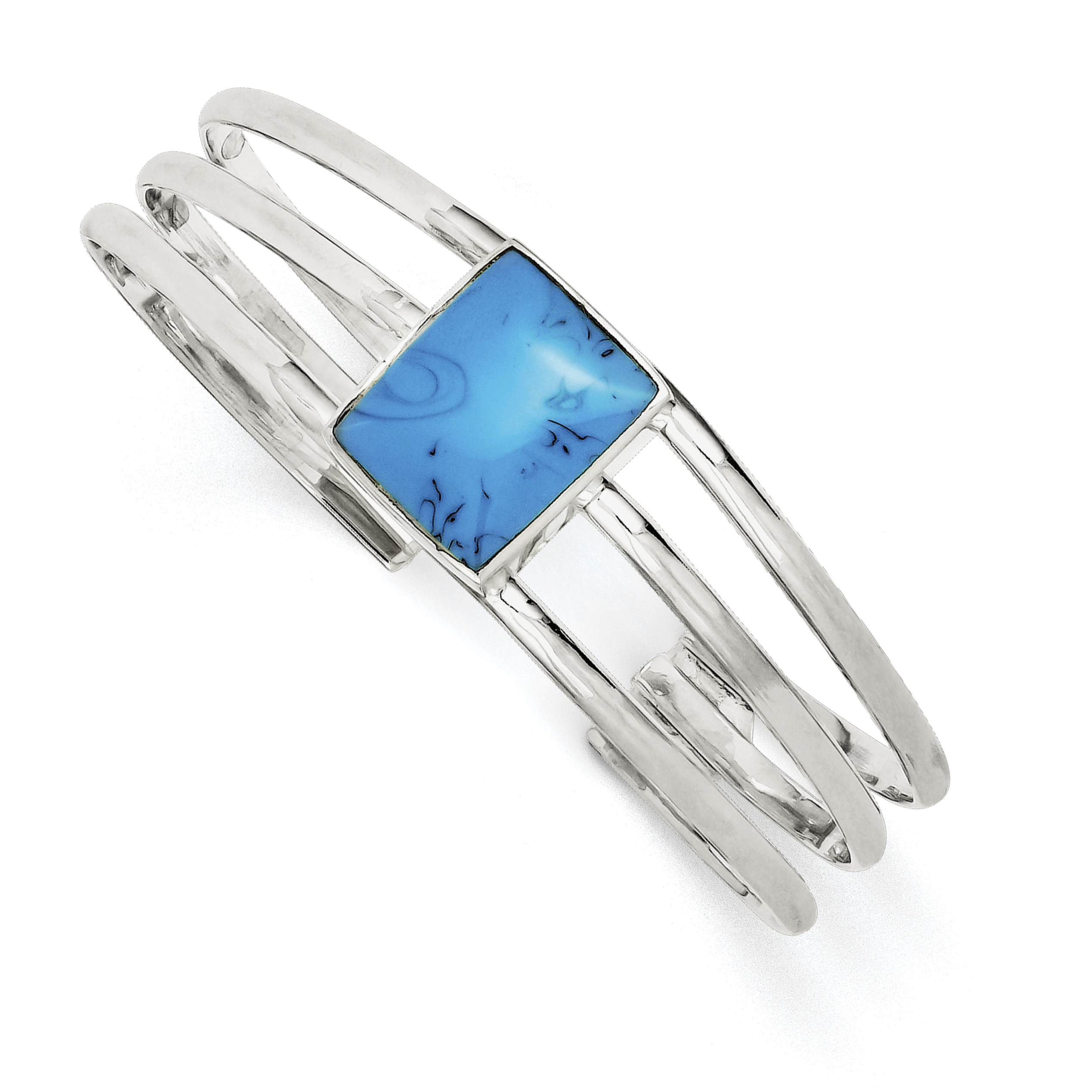 925 Sterling Silver Simulated Turquoise Three Strand Cuff Bangle Bracelet by