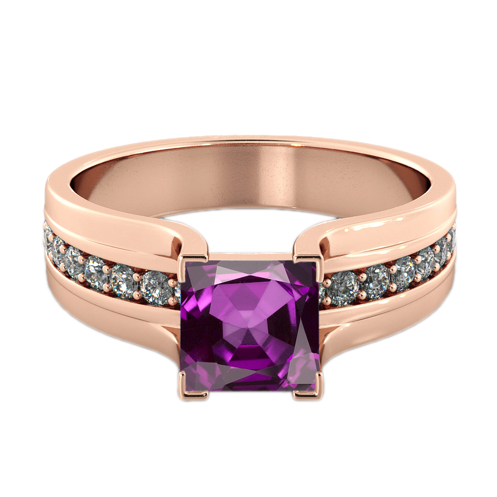 Amethyst 1.20 ctw Ring with Diamonds 14K Rose Gold Bridge Channel set Princess by Diamonds Mine