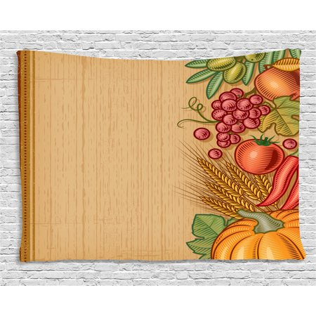 Harvest Tapestry, Frame with Retro Elements Seasonal Composition Clean Eating Thanksgiving Vintage, Wall Hanging for Bedroom Living Room Dorm Decor, 80W X 60L Inches, Multicolor, by - Thanksgiving Frames