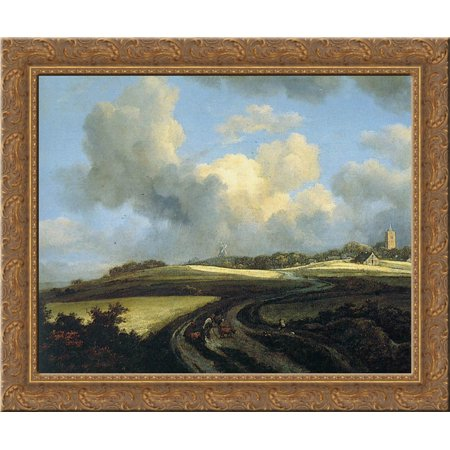 Road through Corn Fields near the Zuider Zee 24x20 Gold Ornate Wood Framed Canvas Art by Jacob Isaakszoon van -