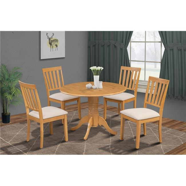 M&D Furniture BUMO5-OAK-C Burlington 5 Piece small kitchen table set-kitchen table and 4 dining chairs in Oak finish