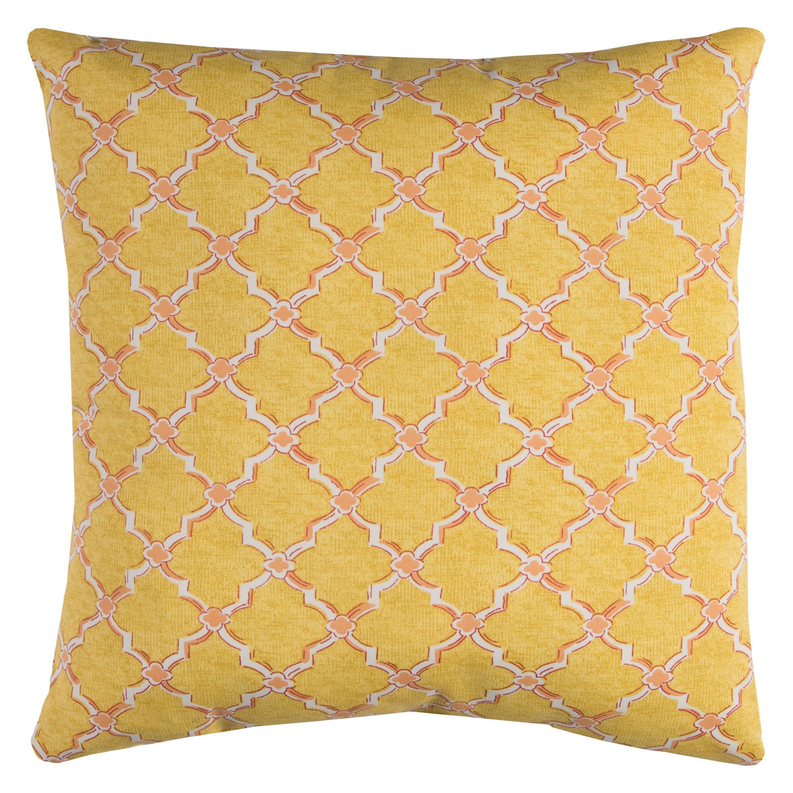 "Rizzy Home Decorative Poly Filled Throw Pillow Geometric 22""X22"" Orange"