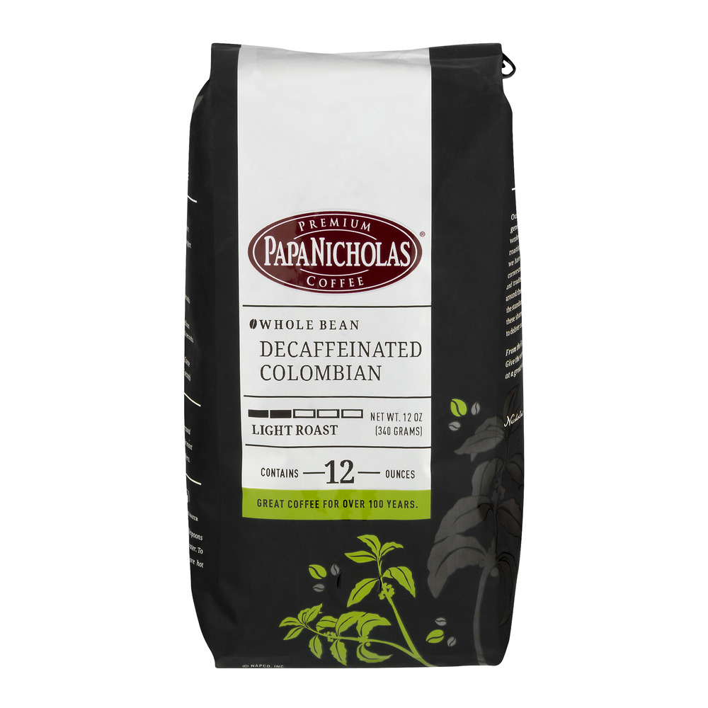 Papa Nicholas Whole Bean Decaffeinated Colombian Light Roast, 12.0 OZ