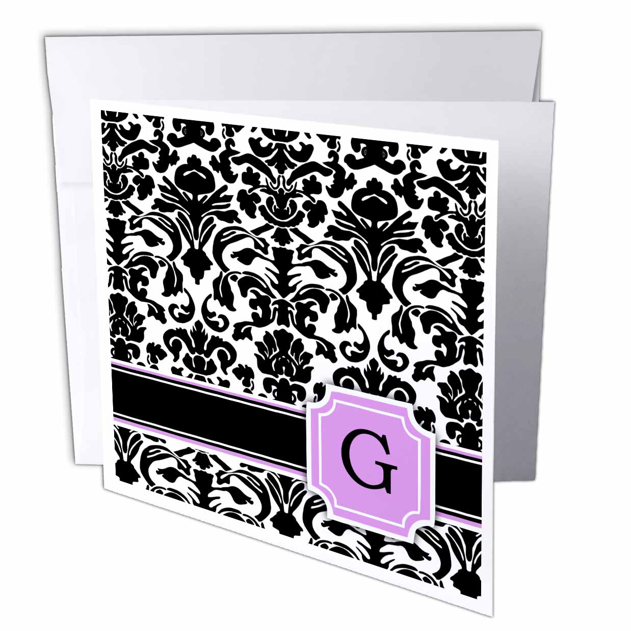 3dRose Personal initial G monogrammed pink black and white damask pattern girly stylish personalized letter, Greeting Cards, 6 x 6 inches, set of 6
