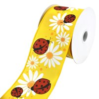 Ladybugs and Daisies Wired Ribbon, 2-1/2-Inch, 10-Yard, Yellow