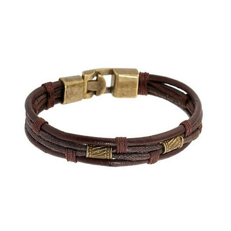 Sexy Sparkles Mens Vintage Leather Wrist Band Brown Rope Bracelet Bangle Braided Cuff Vintage, 8.2inches(4653) (Mens Braided Bracelet Brown)