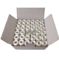 144pcs Prewound Bobbins for Sewing/embroidery machine and Brother Embroidery Machines, Plastic Sided, Size A, Class 15, 15J, Brother SA156, White Color, 100% Polyester, 60/S2 100 Yards