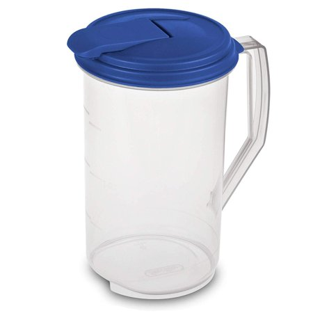- Heavy Duty Round Plastic Pitcher, Blue Lid & Tab with See Through Base, Leak Proof Spill Proof Lid Spout, BPA-free (2 Quart)