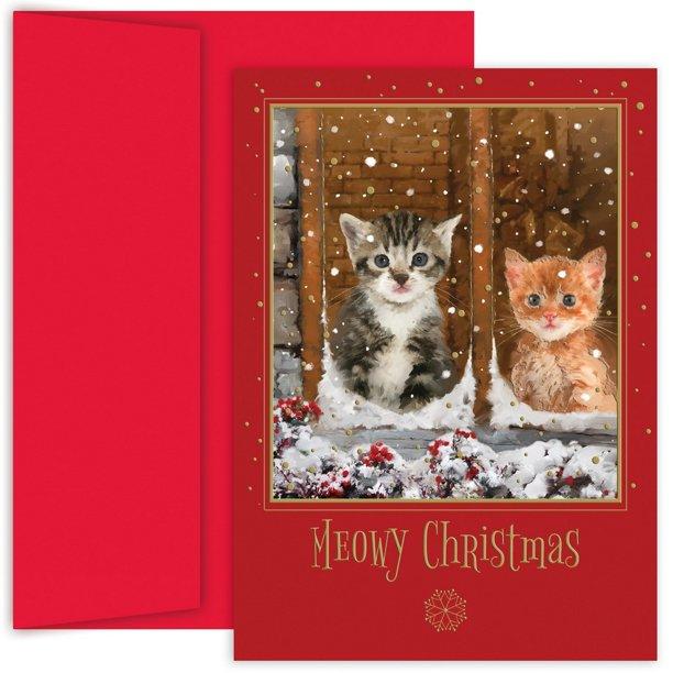 JAM Christmas Card Set, Meowy Christmas Holiday Cards, 18