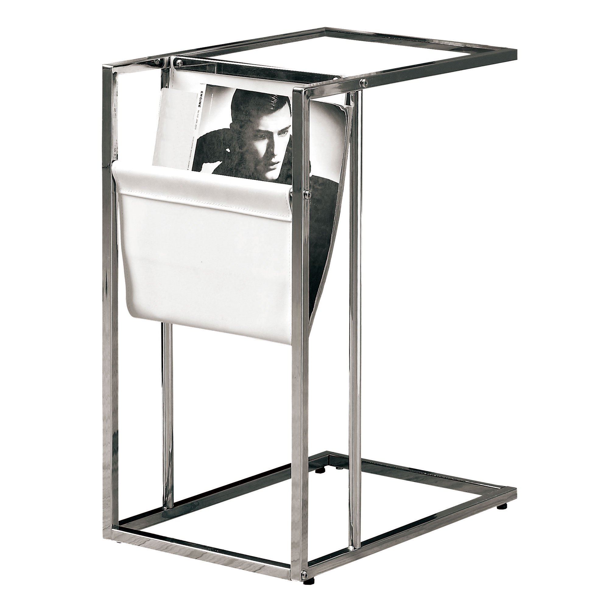 White/Chrome Metal Accent Table with Magazine Holder