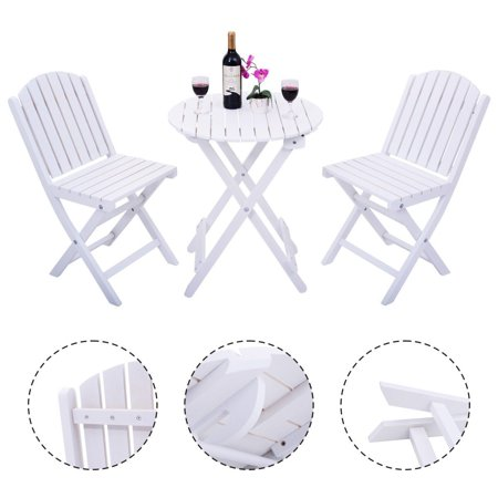 Costway 3 Piece Folding Table Chair Set Wood Outdoor Patio Garden ...