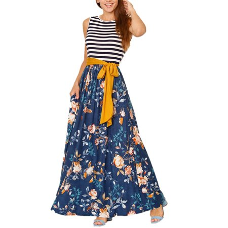 Striped Sleeveless Printed Floor-length Long Dress with - Navy Striped Seersucker