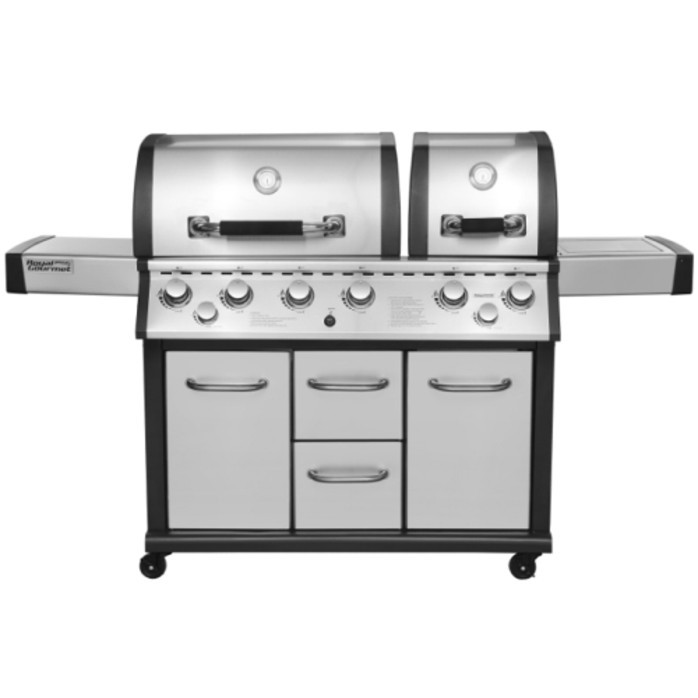 Royal Gourmet Mirage MG6001-R Two Split Lid 6-Burner Propane Infrared Burner Gas Grill, with Side Burner, 96000 BTU, with Cover Included