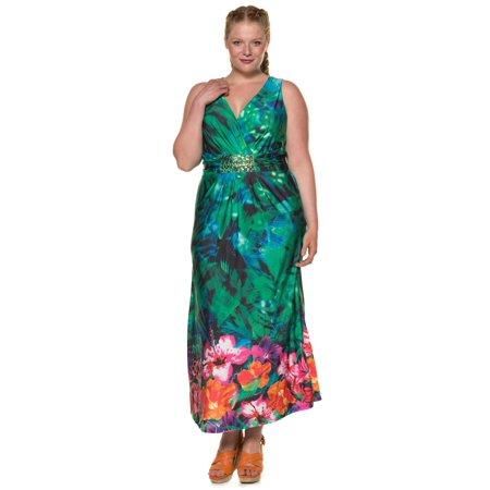 Ulla Popken Women\'s Plus Size Summer Print Maxi Dress 708889