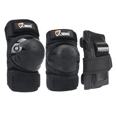 JBM Adult Knee Pads Elbow Pads Wrist Guards 3 In 1 Protective Gear Set For Multi Sports Skateboarding Inline Roller Skating Cycling Biking BMX Bicycle Scooter (Kids/Black)