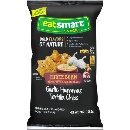 Eatsmart Snacks Garlic Hummus Three Bean Tortilla Chips, 7 oz