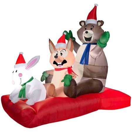 6.5' Animated Airblown Woodland Sled Scene Christmas Inflatable - Christmas Inflatables Cheap