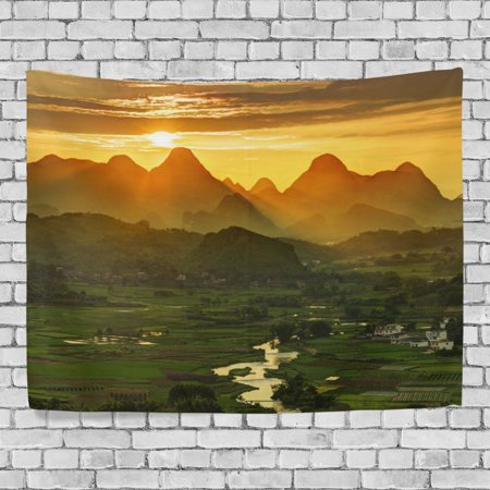 POPCreation Snow Capped Mountains Home Decoration Wall Tapestry 90x60 inches - 60's Decorations Ideas