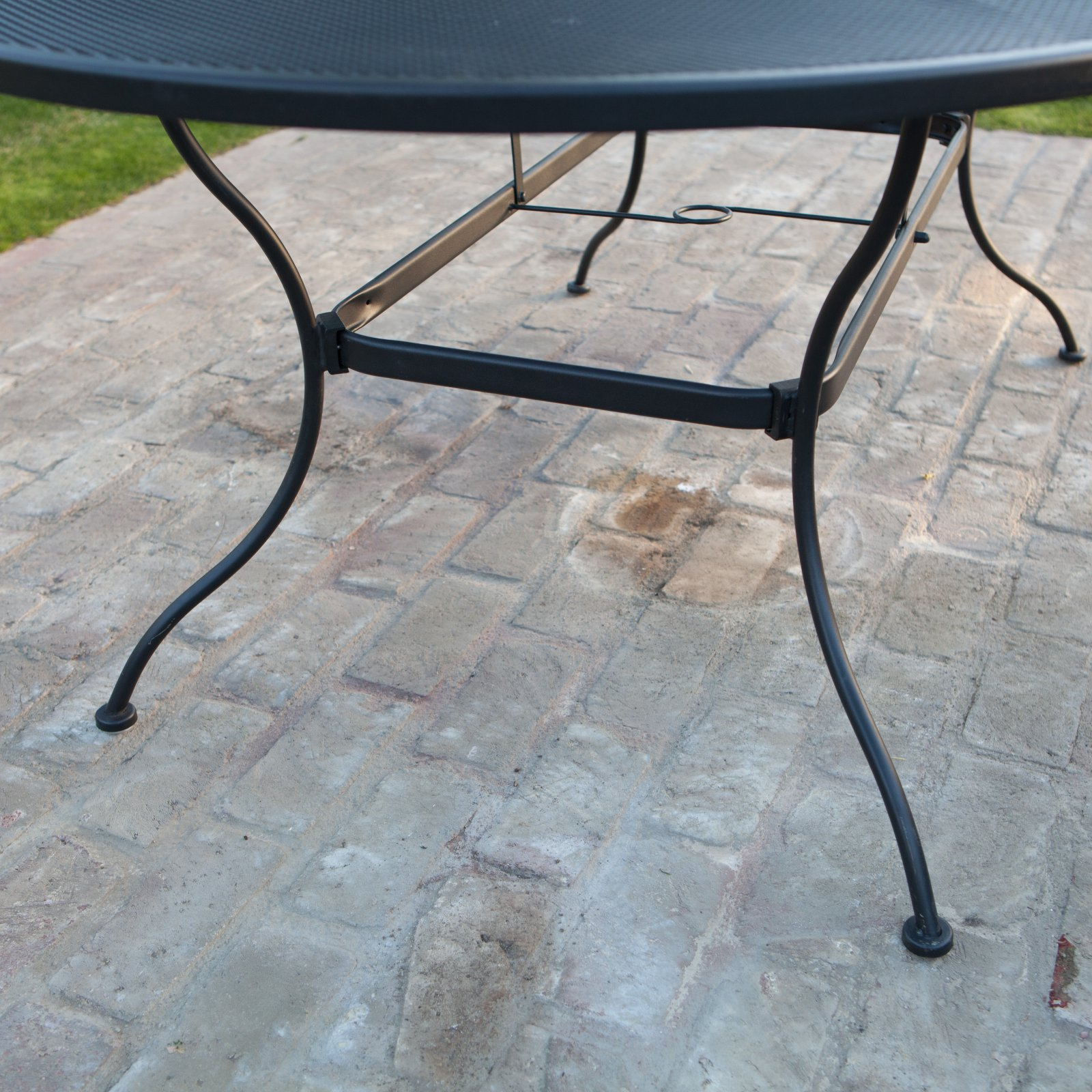 b895565a71a44 Belham Living Stanton 42 x 72 in. Oval Wrought Iron Patio Dining Table by  Woodard - Textured Black - Walmart.com