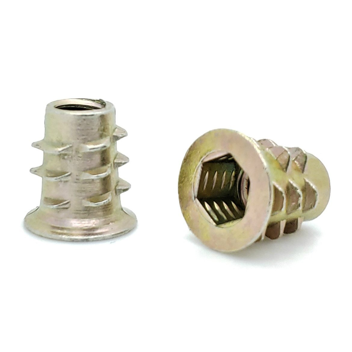 """Fifty (50) 1/4""""-20 Zinc Hex Flanged Threaded Inserts For Wood 