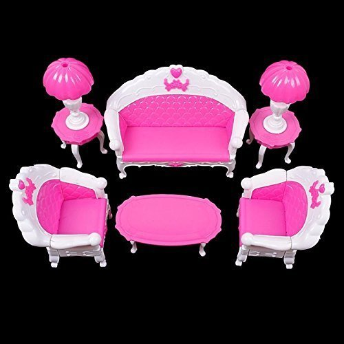 7pcs Fashion Dressing Table And Chair Set For Barbies Dolls Bedroom Furniture