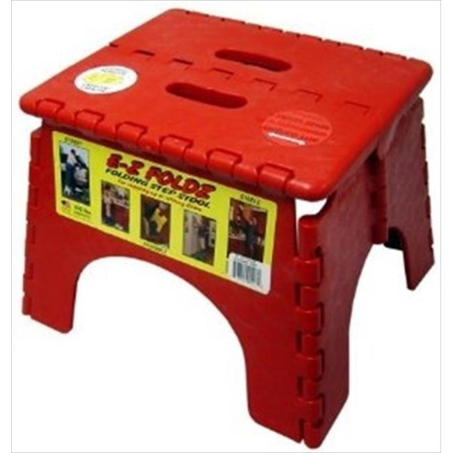 B&R PLASTICS 1016R Ez Foldz Step Stool, Red by B&R Plastics