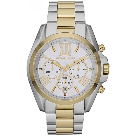 Chronograph Steel Red Dial (Michael Kors MK5627 Women's Bradshaw Chronograph Silver Dial Two Tone Steel Watch )