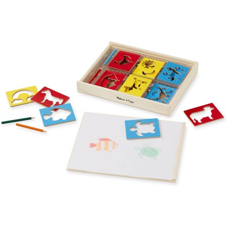 Melissa & Doug Wooden Stencil Set With 27 Themed Stencils and 4 Pencils