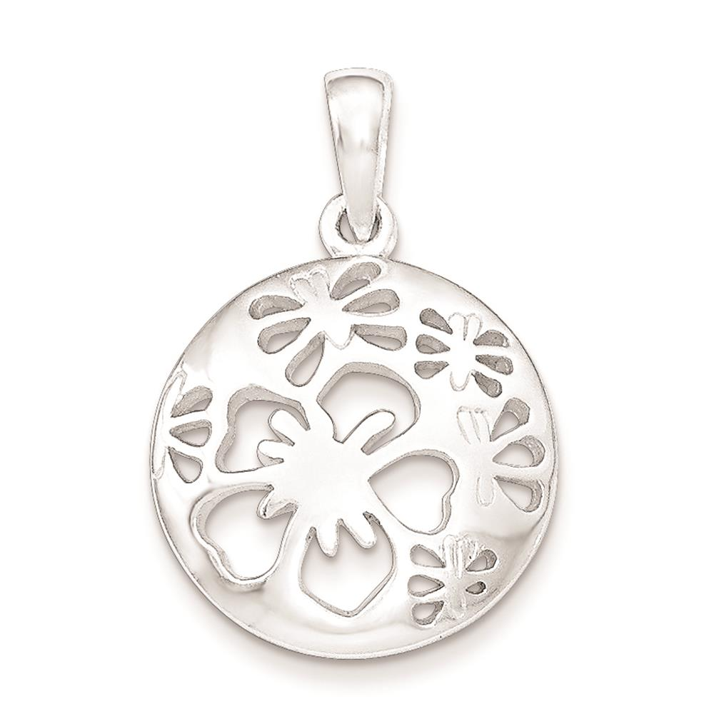 925 Sterling Silver Polished Cut-Out Flower Charm Pendant