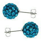 10MM Sterling Silver Round Blue Pave Crystal Disco Ball Stud Earrings