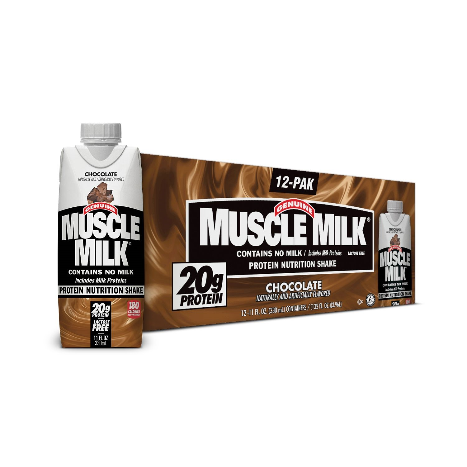 Muscle Milk Shake, 20 Grams of Protein, Chocolate, 11 Oz, 12 Ct
