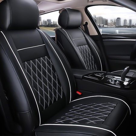 7Pcs Auto 5 Seat Car Seat Cover Leather Front & Rear Cushion Pad & Armrest Case Four Seasons Applicable Fit For Universal Five Seat Car ,Black & White