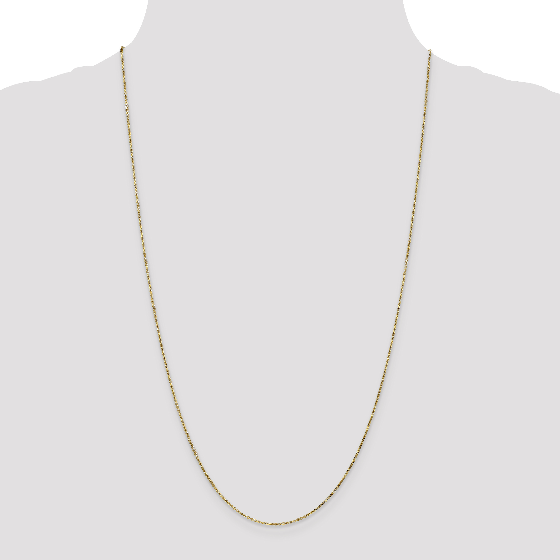14K Yellow Gold .95mm Diamond Cut Cable Chain 24 Inch - image 2 de 5