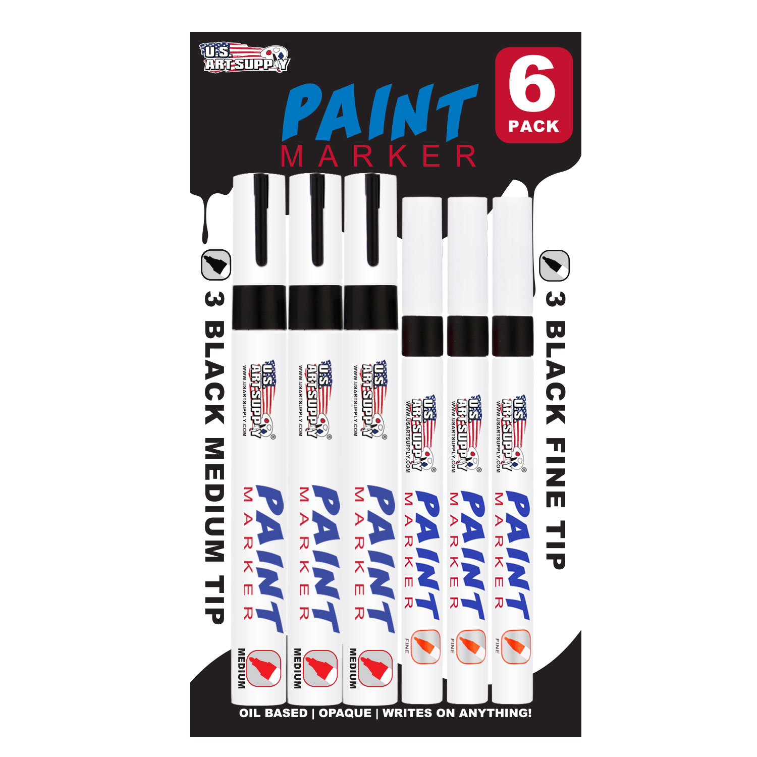 U.S. Art Supply Set of 6 Black Oil Based Paint Pen Markers, 3 Medium and 3 Fine Point Tips - Permanent Ink