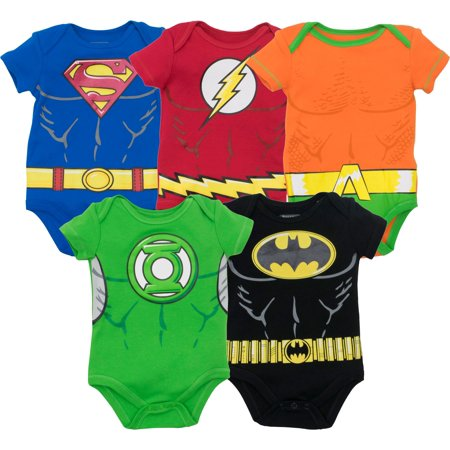 Justice League Baby Boys' 5 Pack Superhero Bodysuits - Batman, Superman, The Flash, Aquaman and Green Lantern (12M)](Superman Baby)