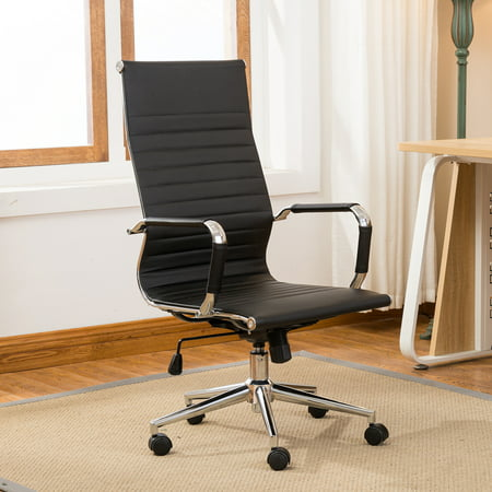 Belleze Modern High-Back Ribbed Upholstered Conference Office Chair, Black - High Back Conference Chair