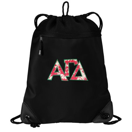 Alpha Gamma Delta Drawstring Bag TWO SECTION AGD Sorority Cinch Pack Backpack - Unique Mesh & Microfiber